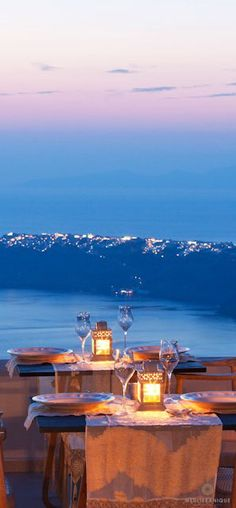 Romantic dining with beautiful views at the Gold Suites in Santorini