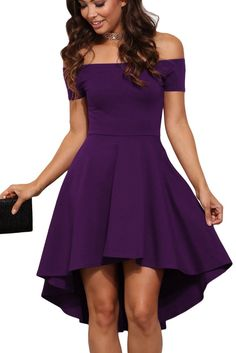 Looking for LARRONKETY Women Off Shoulder Short Sleeve High Low Hem Cocktail Skater Dress ? Check out our picks for the LARRONKETY Women Off Shoulder Short Sleeve High Low Hem Cocktail Skater Dress from the popular stores - all in one. High Low Cocktail Dress, Purple Cocktail Dress, Cocktail Dresses, Purple Dress Summer, Purple Dress Shoes, Pretty Dresses, Beautiful Dresses, Grad Dresses, Short Prom Dresses