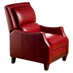 Duncan Bonded Leather Recliner - Red