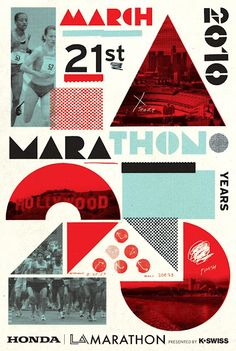 Flyer Goodness: 2010 LA Marathon Poster - Designed by Cleon Petersen of Studio Number One Web Design, Layout Design, Design Art, Print Design, Design Ideas, Logo Design, Graphic Design Posters, Graphic Design Typography, Graphic Design Inspiration