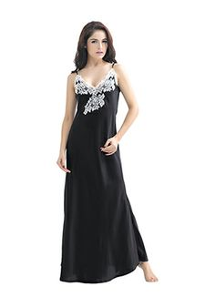 Embroidered Appliqued Lace Long Nightgown - LS353