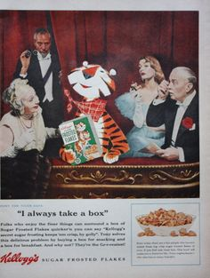 1955 Kelloggs Cereal Sugar Frosted Flakes Tony The Tiger Print ad