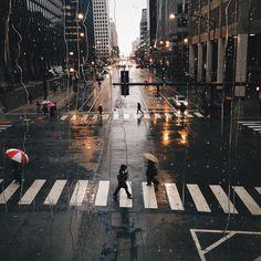 Desfoque, luzes, cidade, chuva. …