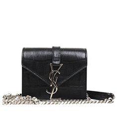Saint Laurent YSL Candy Monogram Croc Embossed Leather Chain Shoulder Mini Bag