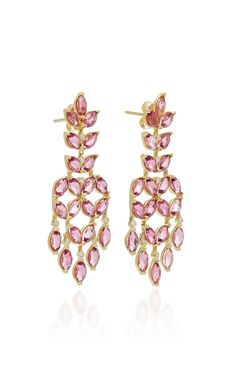Jamie Wolf for Moda Operandi | One-Of-A-Kind Marquis Chandelier Earring | A stunning chandelier drop construction with vibrant marquise shaped pink tourmalines and sparkling white diamond embellishment