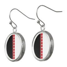 Bold Abstract Black White and Red Pattern Earrings