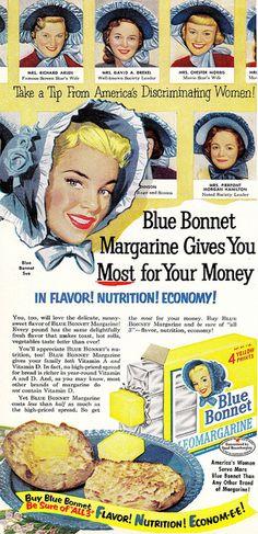 Items similar to Blue Bonnet Margarine Ad Illustrated Vintage Advertising Art Print, Retro Kitchen Farmhouse Wall Decor on Etsy Old Advertisements, Retro Advertising, Retro Ads, Vintage Ads, Vintage Signs, Vintage Prints, Vintage Posters, Vintage Food, Retro Food