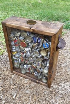 "PERSONALIZABLE EXTRA LARGE Size Beer Bottle Cap Holder Shadow Box With Rustic Bottle Opener On Side - Stained wood & glass (17""x21"")"