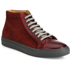 Saks Fifth Avenue COLLECTION Mix Media Leather High-Top Sneakers (440 SAR) ❤ liked on Polyvore featuring men's fashion, men's shoes, men's sneakers, mens pvt brands - sfamc shoes, mens leather high top shoes, mens leather sneakers, mens hi top shoes, mens sneakers and mens lace up shoes
