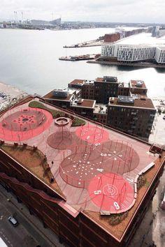 jaja-architects-rama-studio-rasmus-hjortshoj-park-n-play. Landscape And Urbanism, Urban Landscape, Landscape Design, Playground Design, Outdoor Playground, Parking Plan, Parque Linear, Sport Park, Parking Design