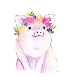 Piglet Printable Floral Pig Art Pig Watercolor Flower - Watercolor Farm Animals With Floral Crowns Art Print Set Of Nursery Childrens Room Pig Cow Duckling Lamb Portrait Vertical Orientation Watercolor Fine Art Prints Greeting Cards And Gifts By Susan Animals Watercolor, Watercolor Flowers, Watercolor Paintings, Pig Drawing, Plant Drawing, Flower Crown Drawing, Drawing Flowers, Tout Rose, Pig Illustration