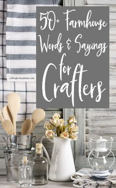 Farmhouse Words & Sayings for Crafters Cutting for Business is part of Handmade home decor - Jump on the rustic farmhouse home decor trend in your Silhouette Cameo or Cricut Explore crafting with this list of farmhouse inspired words and sayings Vinyl Projects, Craft Projects, Project Ideas, Craft Tutorials, Circuit Projects, Free Tutorials, Metal Projects, House Projects, Fixer Upper