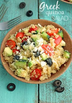 Healthy Greek Quinoa Salad on Chelsea's Messy Apron