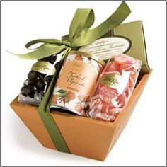 """Summer Sweets    It's the perfect little thank you gift basket or a """"pick me up"""". This darling container is packed full with some summer delights including Asiago Cheese Shortbread, Turkish Apricots, Dark Chocolate Almonds and Peach Candy Slices.http://www.marysgiftbaskets.com"""