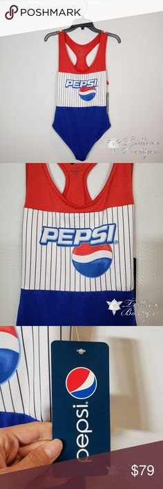 Pepsi Women's Logo One Piece Swimsuit Pepsi Women's Logo One Piece Swimsuit  🛍 New with Tags! 🚭 Smoke-Free Home 🧵 95% Polyester, 5% Spandex   Make a statement in this amazing one piece Pepsi logo swimsuit!!👌 Pepsi Swim One Pieces