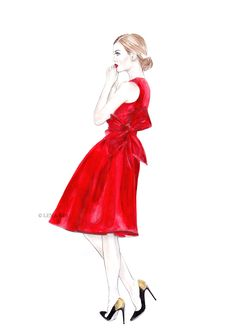 artwork by Lena Ker: Red Dress