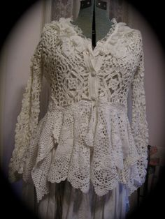 Romantic Sweater Coat victorian white cotton by TatteredDelicates