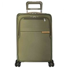Briggs & Riley Baseline Carry-On Spinner in Olive. A compact suitcase for long and short haul travels, the Baseline Carry-On by Briggs and Riley takes the term 'packing light' to a whole new level. Equipped with patented CX Compression-Expansion Techn Hand Luggage, Luggage Sets, Briggs And Riley, Carry On Size, Checked Luggage, Overhead Storage, Carry On Suitcase, Garment Bags