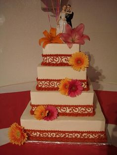 Orange/Fall Square Wedding Cake