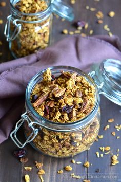 Try this delicious pumpkin granola this Fall! Perfect for breakfast, as a snack or even for dessert! Gluten free, Vegan and Refined Sugar Free | Find the recipe on NotEnoughCinnamon.com