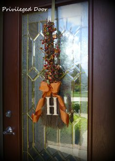 Custom Fall Wreath.  The Berry Broomstick with Custom Woodfired Letter of Your Choice.  A Good Witch Indeed.
