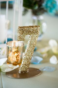 Gold Glitter Table Number|{Mint & Tiffany Blue} Wedding Ideas|Photographer:  Rising Lotus Photography