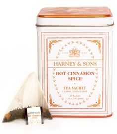 Hot Cinnamon Spice Tea - Harney & Son's most popular flavored tea, this is an assertive blend of black teas, three types of cinnamon, orange peel, and sweet cloves (no sugar added).