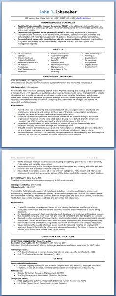 HR Generalist Resume Examples