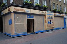 DIESEL London, May 2009 Design, production and installation of three wooden boomboxes cladding the Carnaby St storefronts to promote the launch of Diesel U Music Radio.