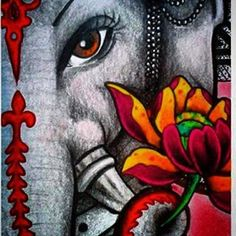 Ganesha Tattoo, Ganesha Art, Sri Ganesh, Elefante Hindu, Lord Ganesha Paintings, Ganesh Images, Rangoli Designs Diwali, Indian Art Paintings, Art Corner