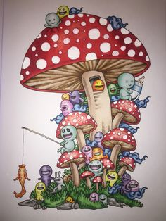 Mushrooms from Doodle Invasion book coloured with Promarkers #DoodleInvasion #KerbyRosannes #Promarkers