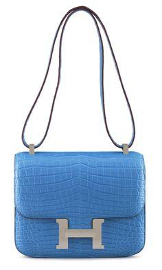 A 23CM MATTE MYKONOS NILO CROCODILE DOUBLE GUSSET CONSTANCE BAG Christie's Handbags and Accessories