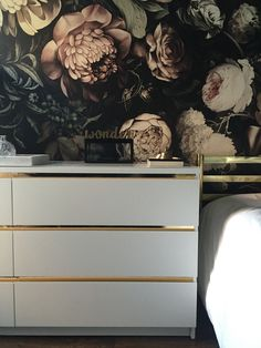 Malm dresser hack, gold detail, Ellie cash man wallpaper
