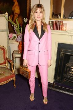Georgia May Jagger in a bubblegum pink Gucci suit