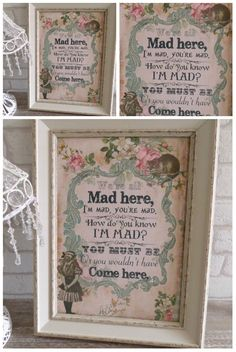 1 Vintage  Alice in Wonderland We're All Mad Here Print  Gifts,Home,Party in Home, Furniture & DIY, Home Decor, Wall Hangings | eBay!