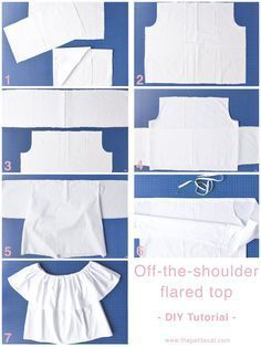Off-the-shoulder tops and dresses are a summer favorite! Here's the ultimate off-the-shoulder top/dress DIY tutorial for three different styles! Diy Tops For Women, Tops Diy, Diy Off Shoulder Shirt, Off Shoulder Tops, Diy Crop Top, Crop Tops, Dress Sewing Patterns, Clothing Patterns, Crop Top Pattern