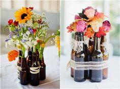 Beer Bottle Wedding Ideas / http://www.deerpearlflowers.com/wine-bottle-vineyard-wedding-decor-ideas/