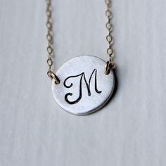 Gold & Silver Round Pendant Necklace Personalized by Fifty50Studio