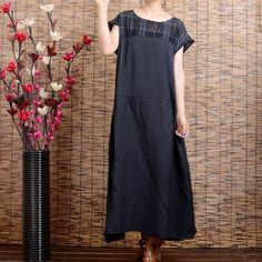 Women's short sleeve loose pullover linen dress
