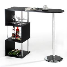 e711353be4d3e7 Breakfast Bar Table Kitchen Dining Modern Stylish Cafe Black Party Storage  Shelf