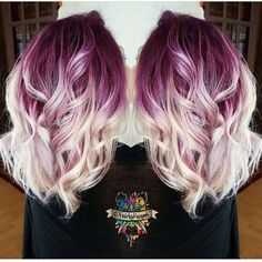 Plum purple hair color base with billowy white blonde hair! Hair Color And Cut, Cool Hair Color, Crazy Hair Colour, Color Pop, White Blonde Hair, Blonde Hair With Purple Highlights, White Ombre Hair, Blonde Ombre, Funky Blonde Hair