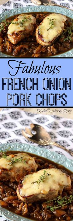 All the flavors you love in a traditional French onion soup are captured in this recipe for French Onion Pork Chops | Kudos Kitchen by Renee