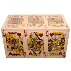 Hand Painted Playing Card Trunk | From a unique collection of antique and modern coffee and cocktail tables