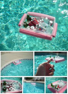 DIY Pool Noodle Floating Drink Cooler