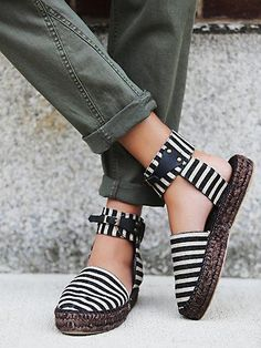 Aurora Espadrille   Spanish made striped linen espadrilles with a high ankle strap and buckle closure..  Soft padded footbed for extra comfort.  *By Free People