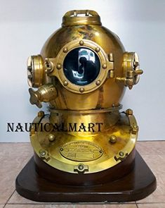 Our Large full size Well crafted Divers helmets are commanding feature piece that evoking senses and illuminating entire spaces.these diving helmet is well made replica of vintage navy divers helmets. made of Steel & Aluminum in Brown Antique Finish.Great craftsmanship and is in excellent... more details available at https://perfect-gifts.bestselleroutlets.com/gifts-for-holidays/water-sports-items/product-review-for-antique-boston-u-s-navy-mark-v-scuba-diving-divers-helme