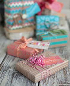 DIY - Creative Gift Wrapping + Tags from the amazing Lia Griffith - Free PDF Printables