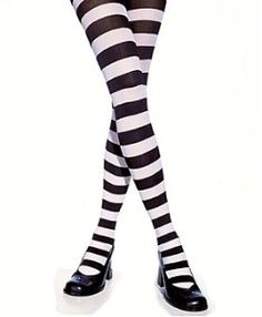 Black and white striped tights.