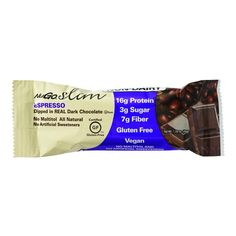 NuGo Nutrition Bar - Slim - Espresso - 1.59 oz Bars - Case of 12