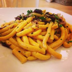 Passatelli asciutti con pancetta e radicchio at Sfogliarina.  Read our review here----> http://www.tastebologna.net/1/post/2013/10/sfoglia-rina-the-perfect-lunch-break.html  #food #pasta #Bologna #italy